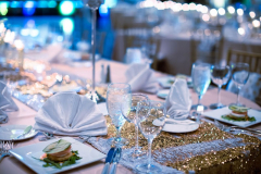 White Linens with Gold Accents